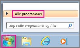 Søge efter Office-apps med Alle programmer i Windows 7