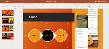 Slide med 2 objekt Markér og Juster til slide valgt i menuen Arranger