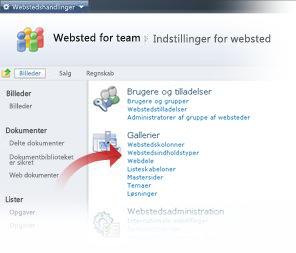 Valg af webstedsindholdstyper fra vinduet Indstillinger for websted