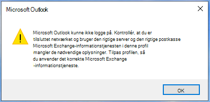 Outlook kan ikke logge på.
