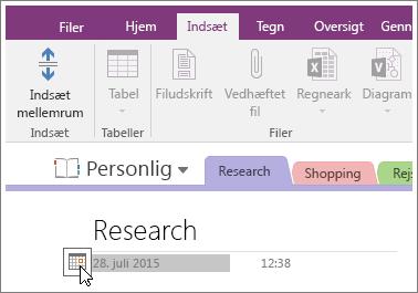 Skærmbillede af, hvordan du ændrer datostemplet på en side i OneNote 2016.
