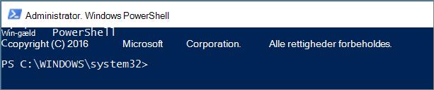 Sådan ser PowerShell ud første gang, du åbner den.