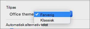 De Office-tema rullemenu, hvor brugeren kan markere farverig eller klassisk tema