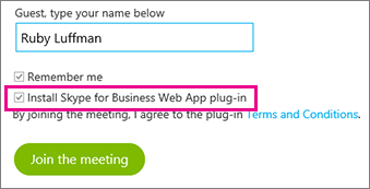"Kontroller, at plug-in'et ""Installér Skype for Business Web App"" er markeret"