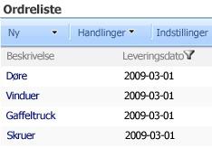 Webdelen Listevisning viser kun elementer, der er valgt leveringsdato for, i webdelen SharePoint-listefilter.