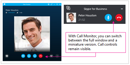 Skærmbilleder af både fuldskærmvisning af Skype for Business og minimeret vindue