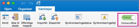 Offline/Online skyderen på fanen funktioner