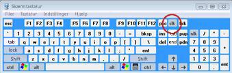 Windows-skærmtastatur med Scroll Lock-tast