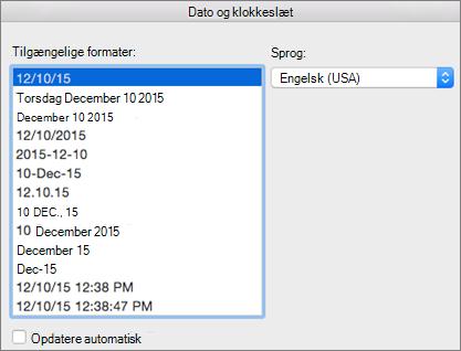 Dialogboksen Dato og klokkeslæt