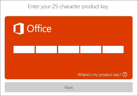 Indtast en produktnøgle.
