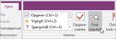 Screenshot of the Find Tags button in OneNote 2016