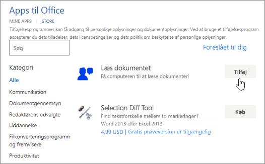 Skærmbillede af siden Apps til Office i Store, hvor du kan vælge eller søge efter en app til Word.