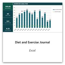 Vælg dette for at få skabelonen til diæt- og træningsdagbog.