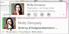Skype for Business-hurtigmenu i Outlook