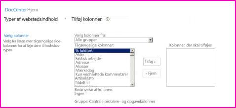 Med denne dialogboks med indholdstypeindstillinger kan du vælge kolonner, der er tilføjes en indholdstype