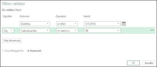 Dialogboksen Excel Power BI avanceret filterrække i Forespørgselseditor