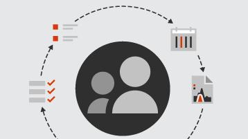 Symboler for kunder og lister og rapporter