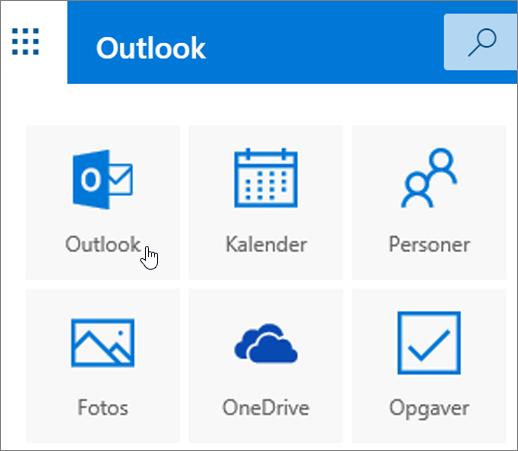 Et skærmbillede viser, at flisen Outlook er markeret.