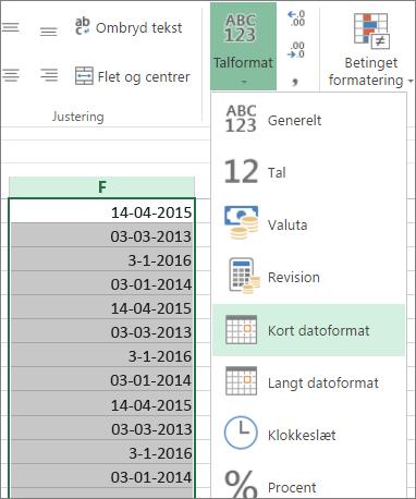 ændre data til kort datoformat i båndet