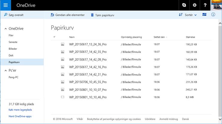 Papirkurv på OneDrive-webstedet