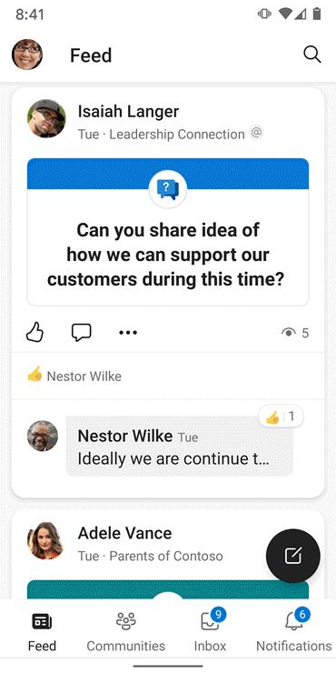 Skærmbillede, der viser feedet på Yammer Android-appen