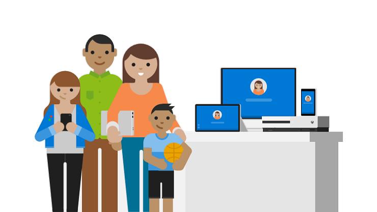 Illustration af personer i en familie og enheder som telefon, bærbar computer og tablet.