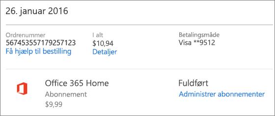 Eksempel på siden Ordreoversigt, der viser ordreoplysningerne for et Office 365 Home-abonnement.