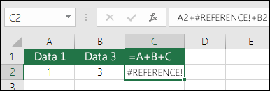 #REF!-fejl udløst af sletning af en kolonne.  Formlen er ændret til =A2+#REF!+B2