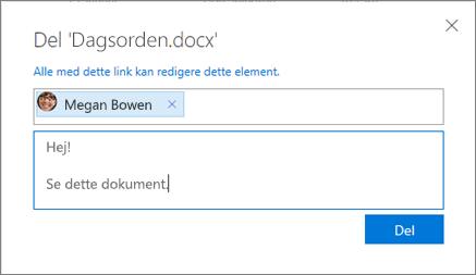 Skærmbillede af dialogboksen Del ved deling af en fil i OneDrive for Business