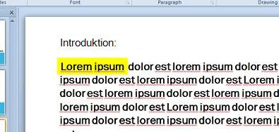 Teksten fremhævet og simuleret med et farvefyldt tekstfelt