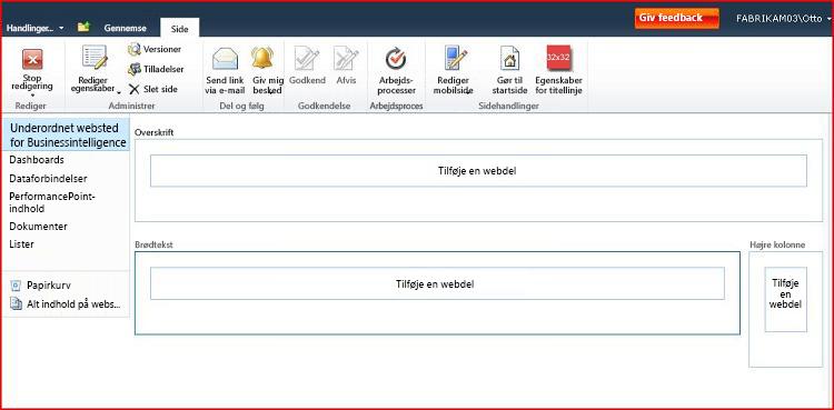 En webdelsside indeholder områder, hvor webdele kan tilføjes