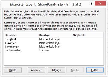 Side 2 i dialogboksen Eksportér til SharePoint.