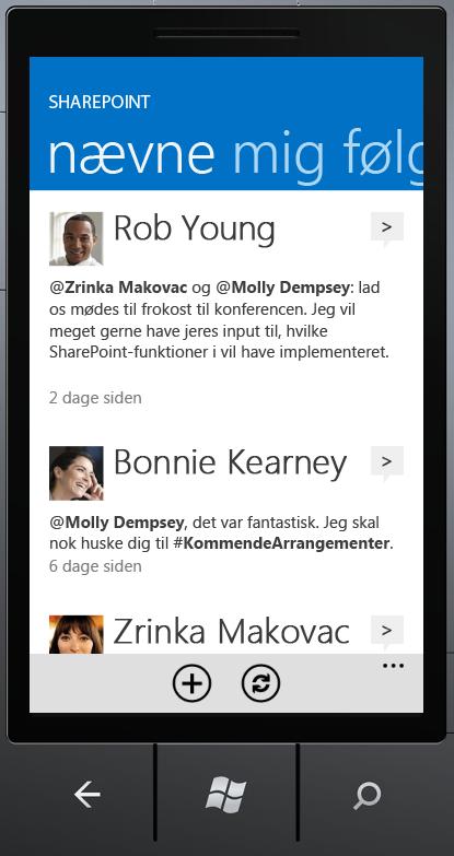 Skærmbilledet Omtaler i SharePoint Newsfeed-app'en