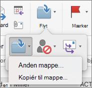 Flytte eller kopiere meddelelser mellem mapper