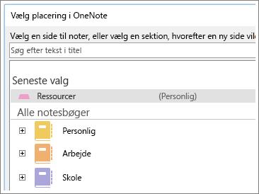 Skærmbillede af OneNote-vinduet hvor du kan vælge side til at tage Skype-noter.