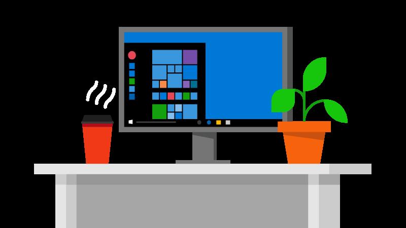 Illustration af en computer på et skrivebord med kaffe og en plante