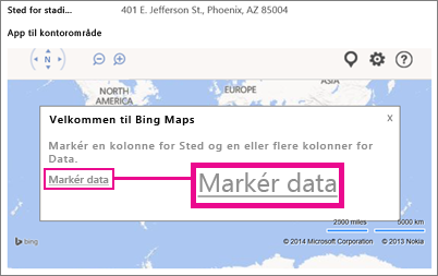 Vælge data til en Bing Kort-app til Office i en Access-app