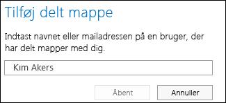 Dialogboksen Tilføj delt mappe i Outlook Web App