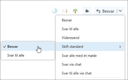 Et skærmbillede af knappen Skift standard