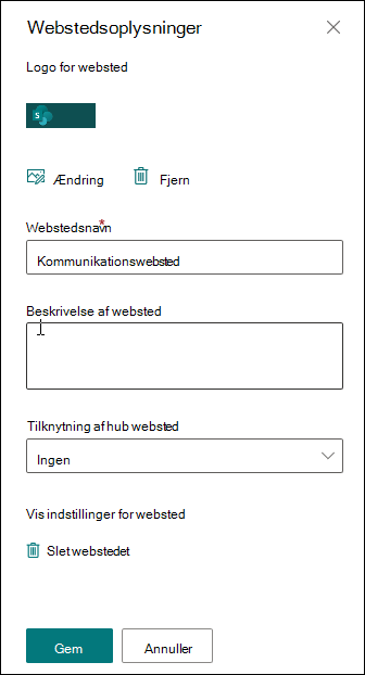 Oplysningspanel for SharePoint-websted
