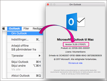 Vælg Outlook om Outlook for at finde din version