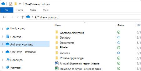 Skærmbillede af OneDrive for Business-filer i Stifinder