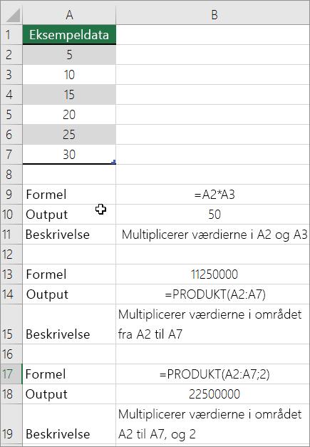 Multiplicere tal ved hjælp af funktionen produkt