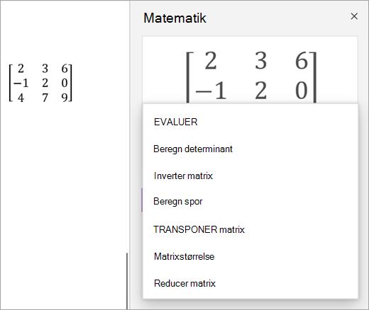 Løsnings indstillinger for matrixer