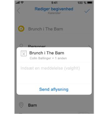 Skærmbillede af annullering med plads til at tilføje en meddelelse