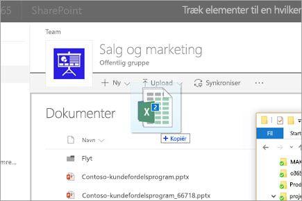 Træk en fil til et SharePoint-dokumentbibliotek