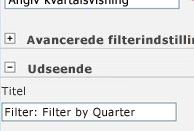 Angiv Filter: Filtrer efter kvartal i feltet Titel.
