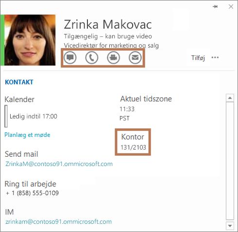 Skype for Business-visitkortet