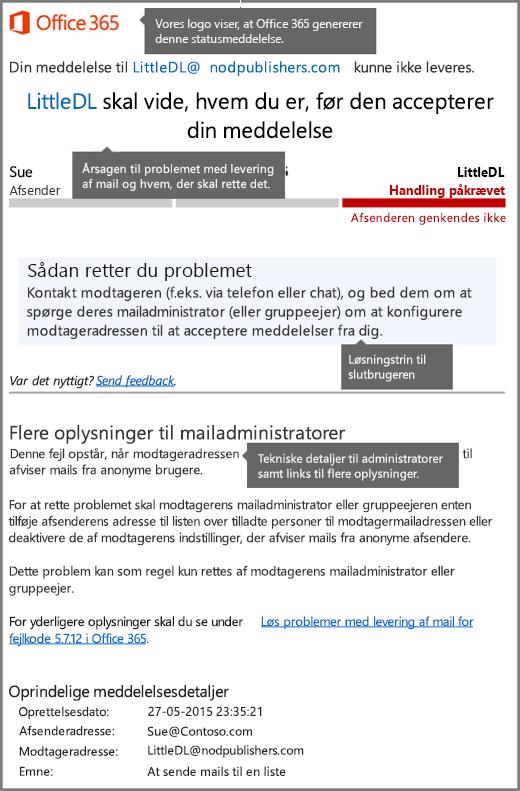 Nyeste format for meddelelser om leveringsstatus (DSN) i Office 365