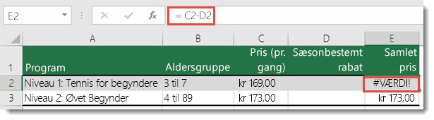 Eksempel på en #VÆRDI!-fejl, der er forårsaget af foranstillet mellemrum i celle D2 – formlen i celle E2 er =C2-D2